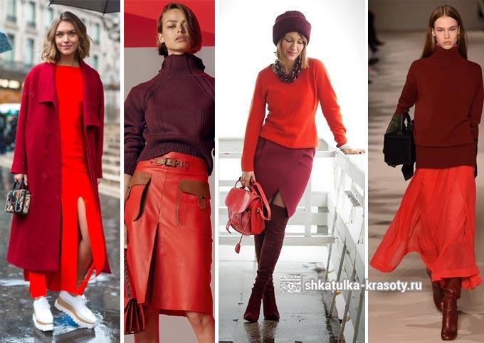 бордовый с красным в одежде
