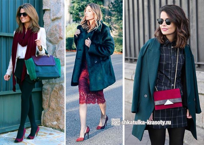 темно-зеленый с бордовым в одежде