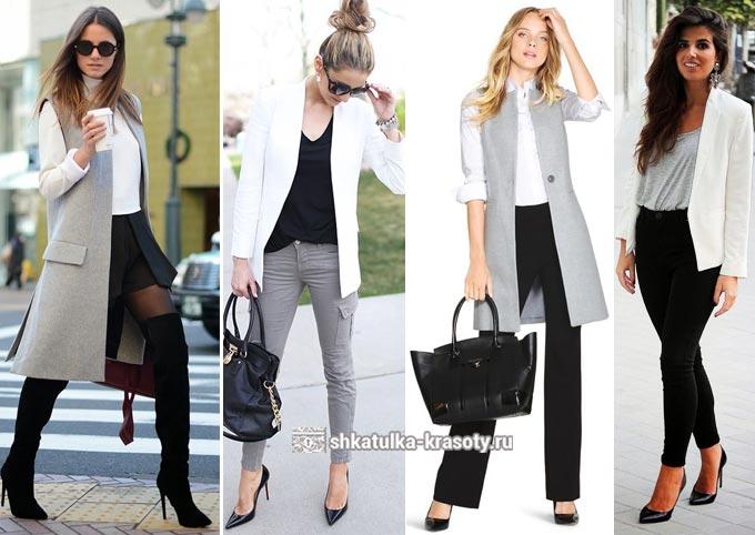 сочетание серого с белым и черным в одежде