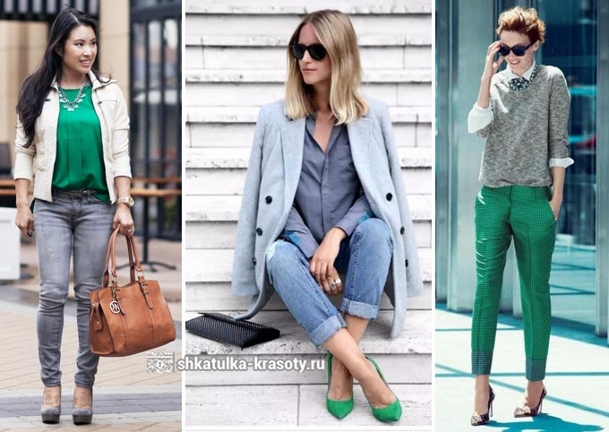 сочетание зеленого и серого в одежде