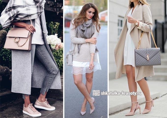 бежевый и светло серый в одежде