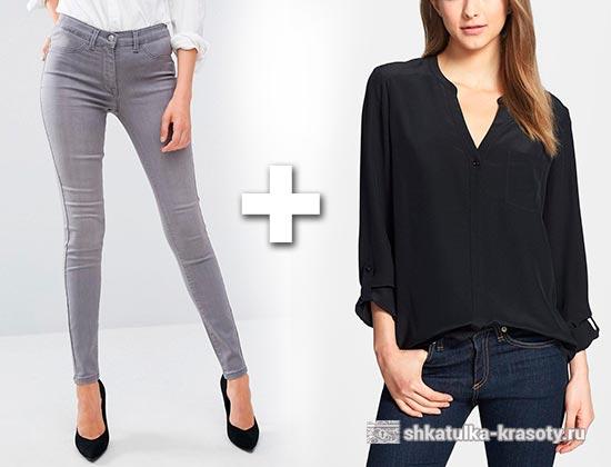 с чем носить серые джинсы