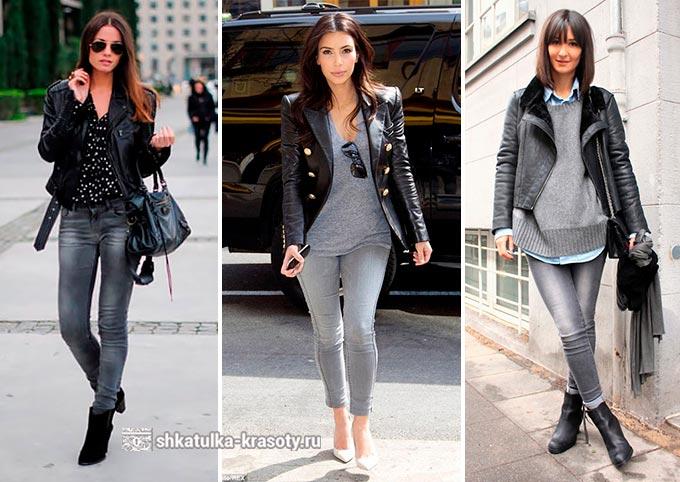 серые джинсы с чем носить фото