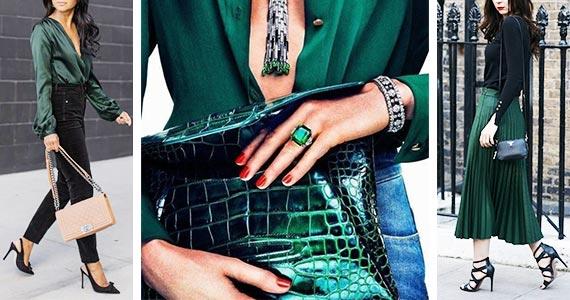 темно-зеленый цвет в одежде - сочетания