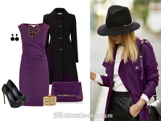 Сливовый цвет в одежде черный
