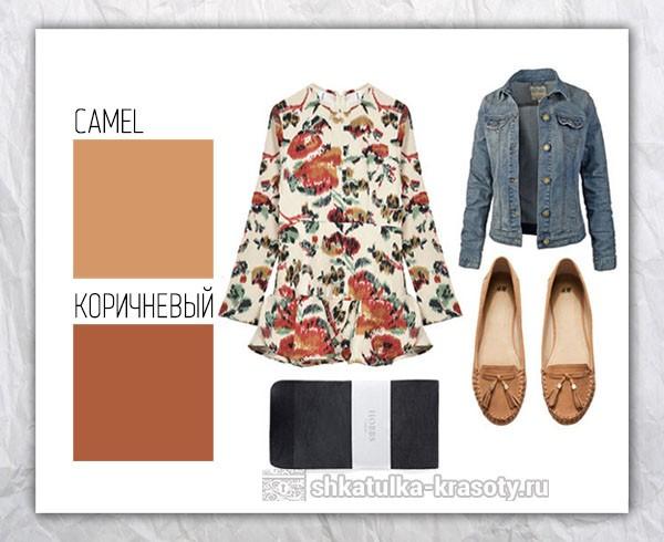 Цветовые сочетания в одежде коричневый