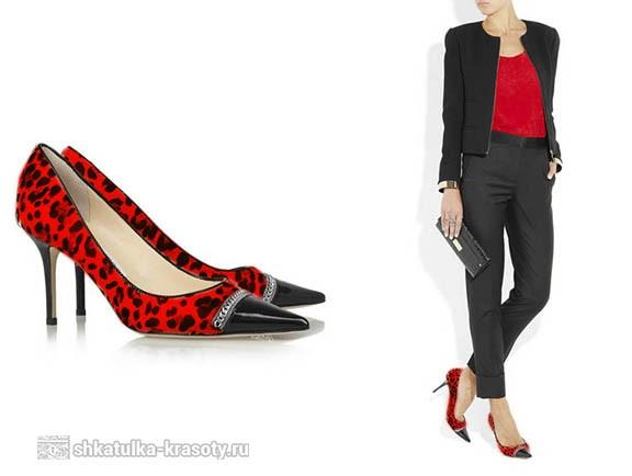 цветные леопардовые туфли с чем носить