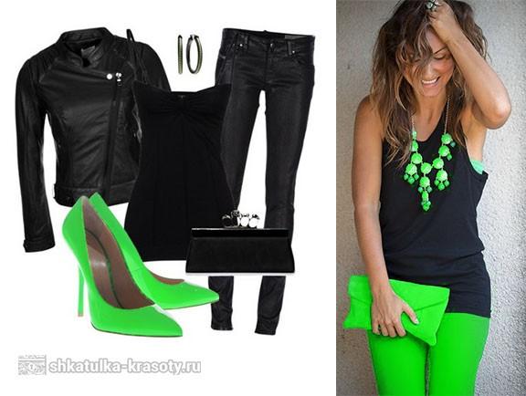 сочетание салатового и серного цвета в одежде