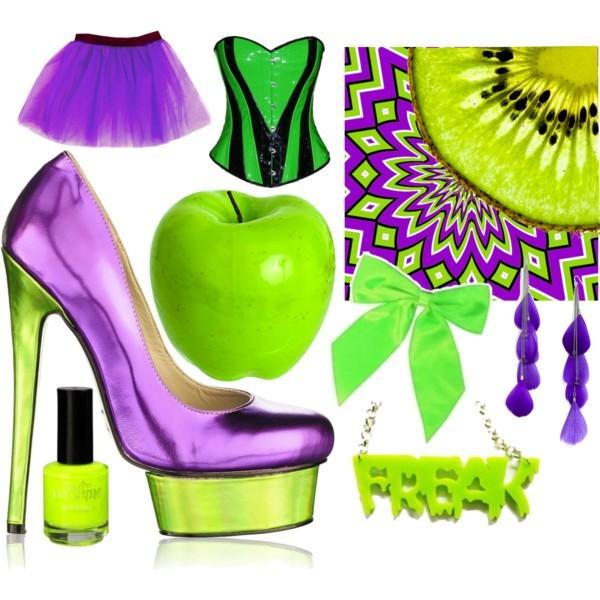 салатовый и фиолетовый в одежде