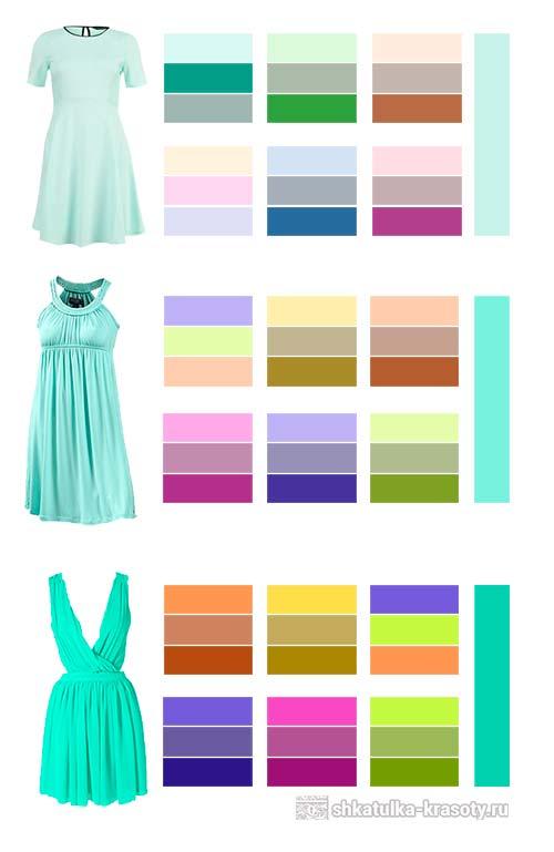 Таблица сочетания мятного цвета
