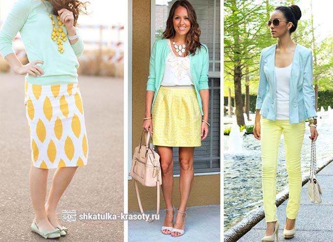 сочетание мятного цвета в одежде