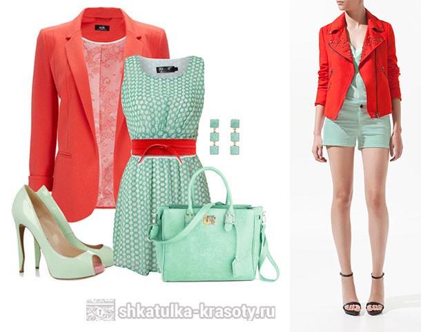 мятный и коралловый в одежде