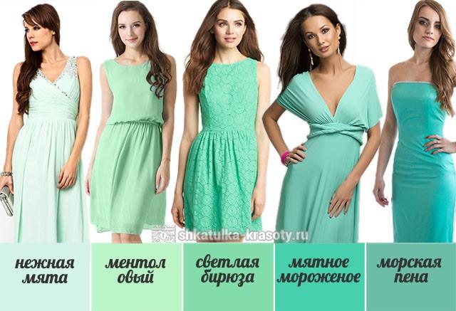 Оттенки мятного цвета в одежде