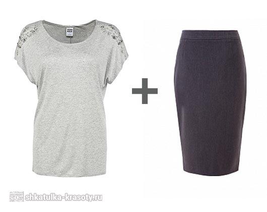 юбка карандаш и футболка