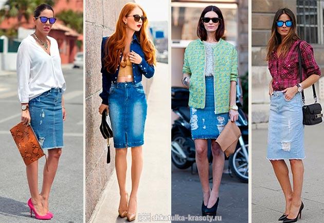 77f76bf121a джинсовая со светлым верхом с чем носить джинсовую юбку карандаш