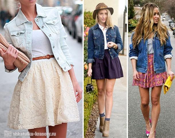 джинсовая куртка и юбка солнце