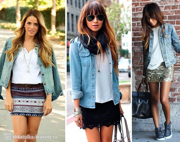 юбка мини и джинсовая куртка