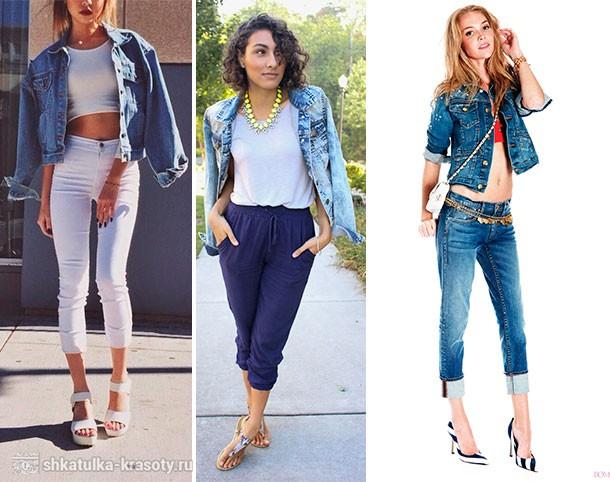 джинсовая куртка и бриджи