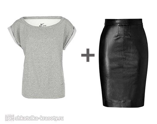 С чем носить кожаную юбку карандаш. Фото