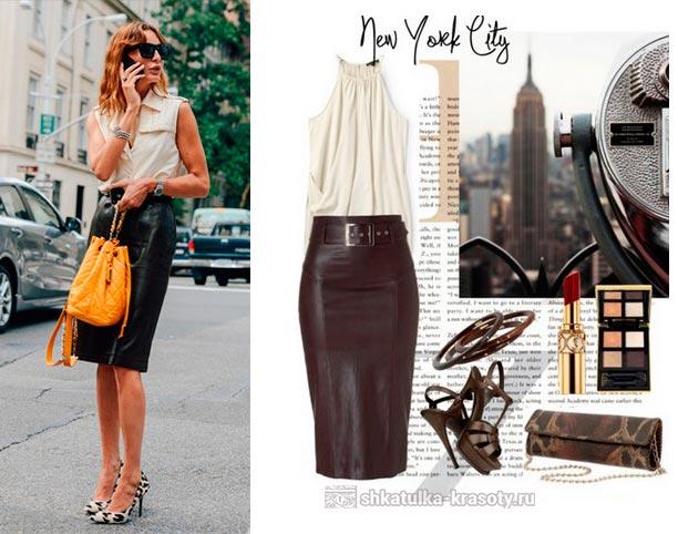 12e6c1c1e76 С чем носить кожаную юбку-карандаш - 90 фото