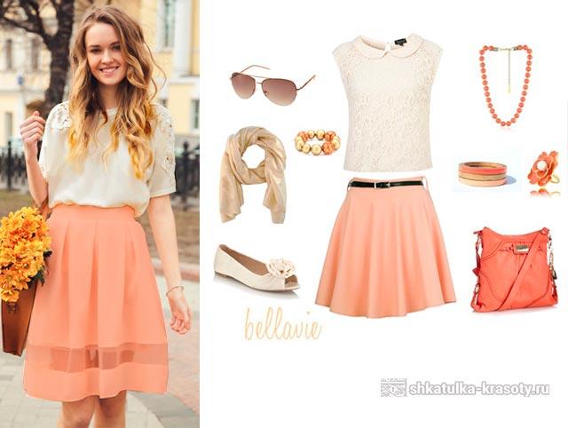 какой цвет сочетается с персиковым в одежде