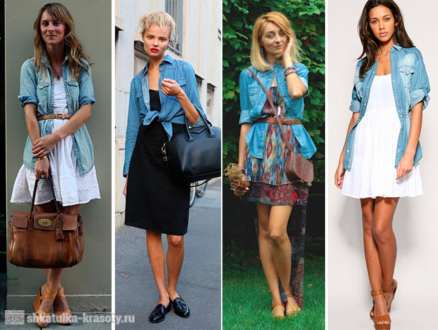 джинсовая рубашка с платьем
