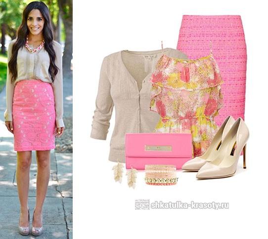 бежевый розовый одежде