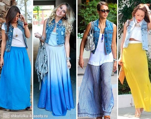 Юбка с джинсовой жилеткой фото