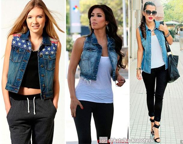 джинсовая жилетка с чем носить фото