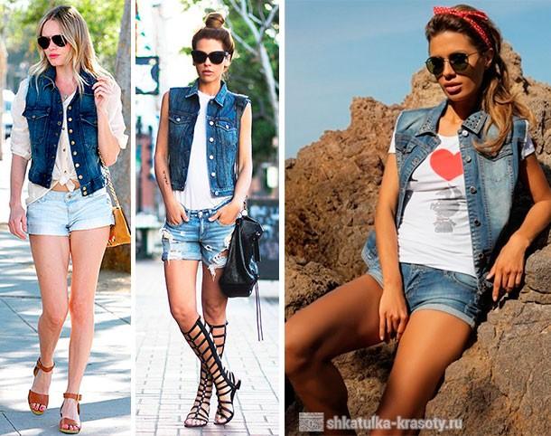 джинсовый шорты и жилетка