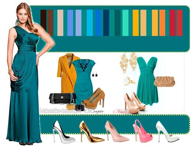 Платье цвета морской волны: с чем носить, туфли и макияж, аксессуары (64 фото)