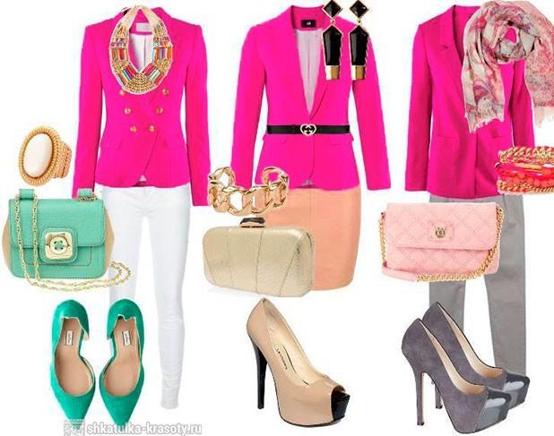 Пиджак цвета фуксии с чем носить
