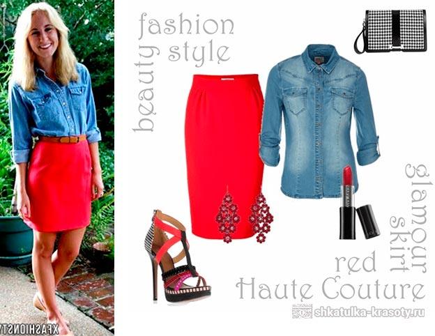 Что носить с красной джинсовой юбкой