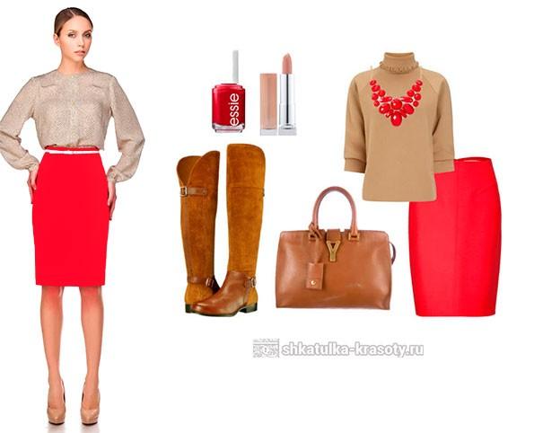 с чем одеть красную юбку карандаш фото