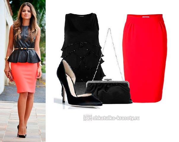 Красная юбка с черной кофтой фото