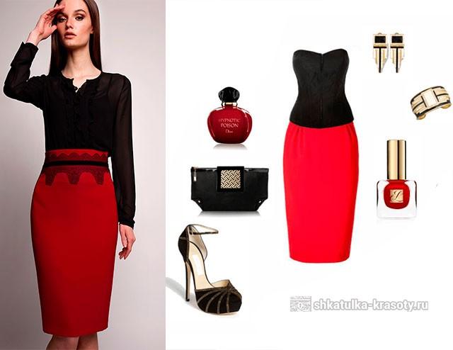 990c207727c С чем носить красную юбку-карандаш - 60 Фото