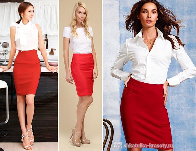 Красная юбка карандаш с чем носить летом