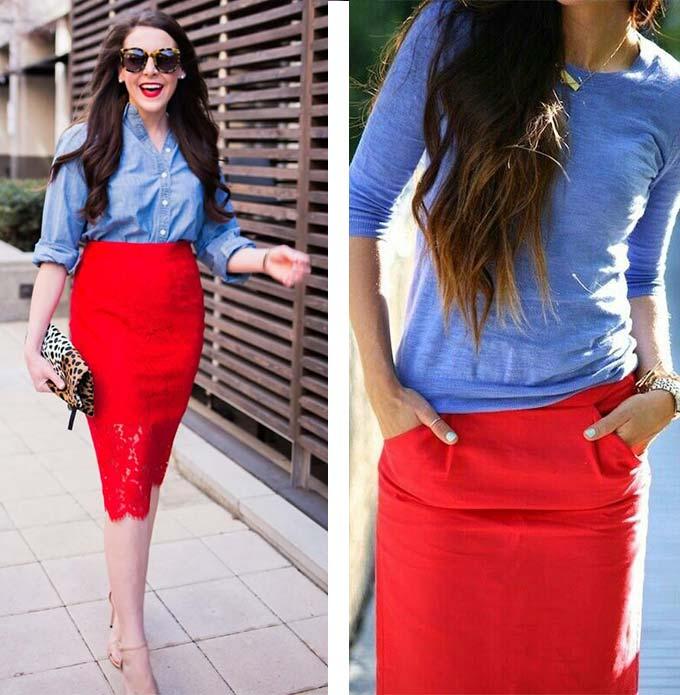 с чем одеть красную юбку карандаш