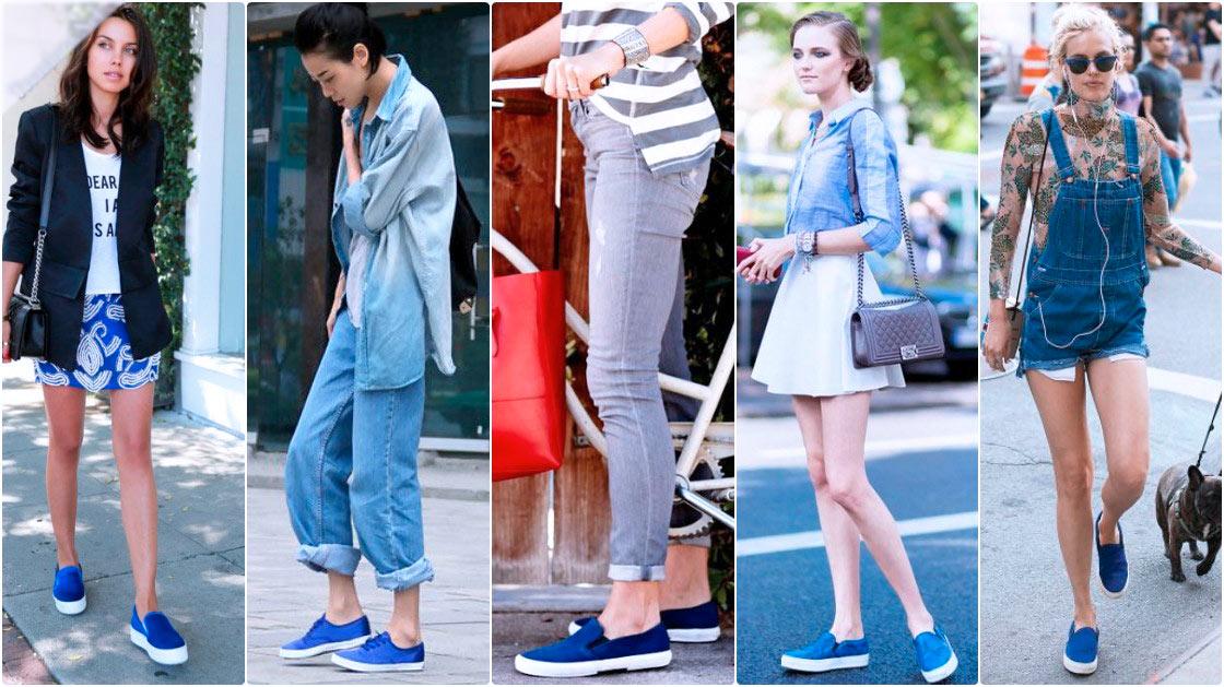 с чем носить синие слипоны