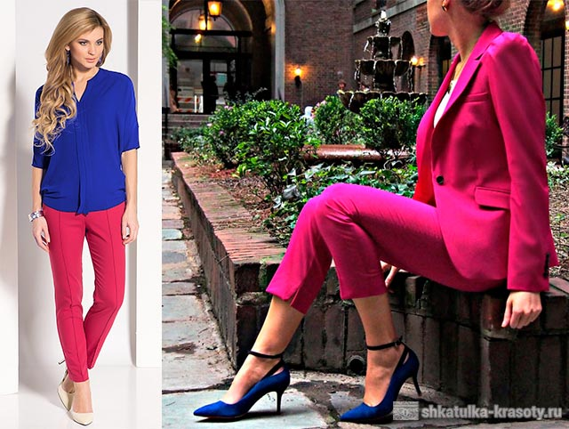 कपड़ों में क्रिमसन रंग का एक संयोजन
