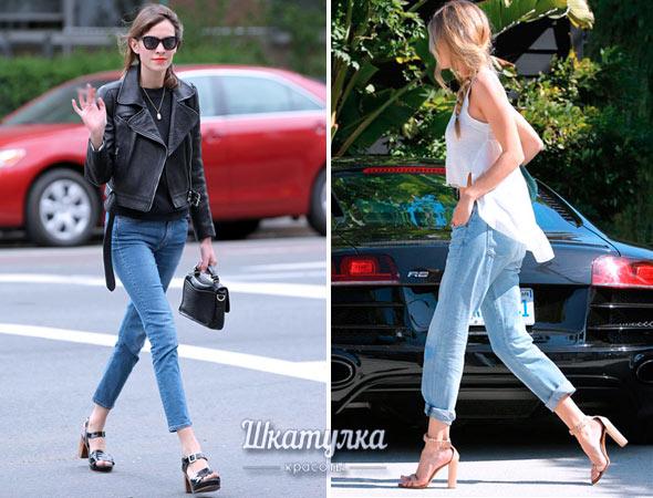 какую обувь носить укороченными джинсами