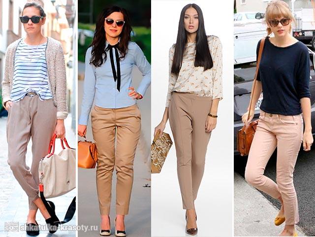 коричневые брюки женские с чем носить