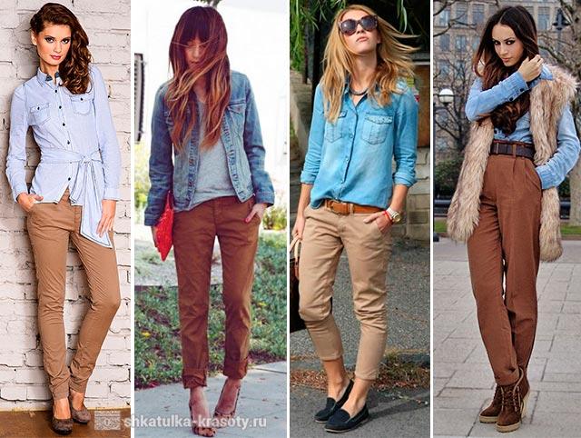 с чем носить коричневые брюки женские фото