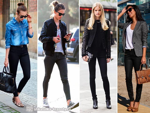 носить черными джинсами скинни
