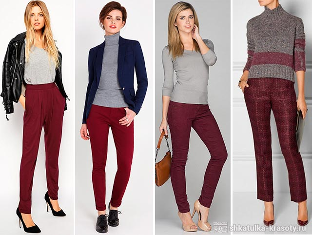 с чем носить бордовые брюки женские фото