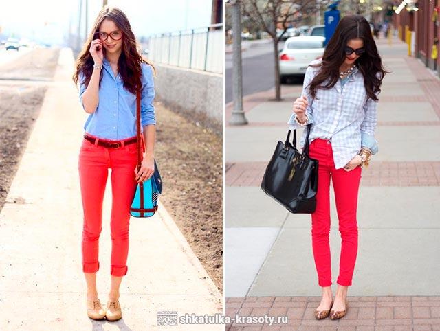 красные брюки женские с чем носить фото