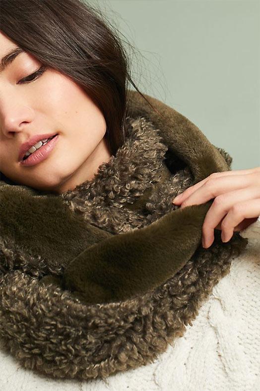 меховой снуд, шарф хомут