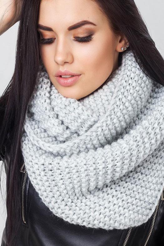 вязанный светло серый снуд, шарф хомут