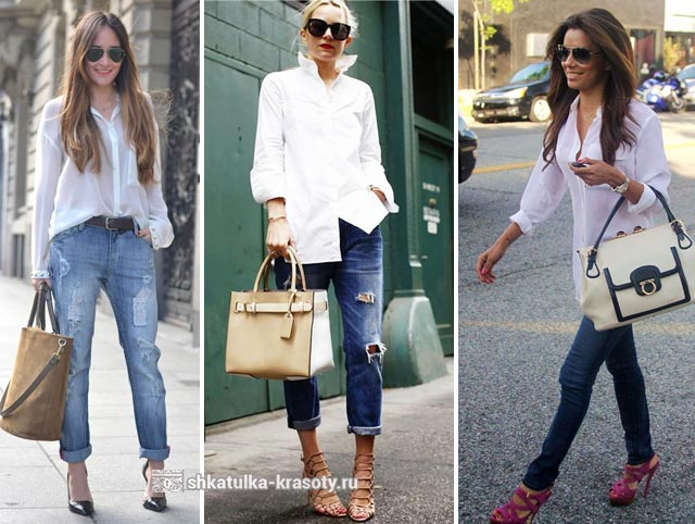 8bccc597df2 С чем носить белую рубашку женскую - 200 фото