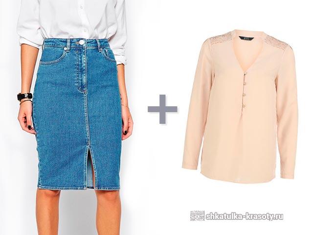Серая джинсовая юбка с чем носить